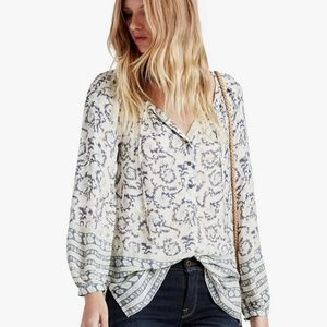 Lucky Brand Paisley Border Top, L